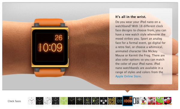 Novos relógios do iPod nano