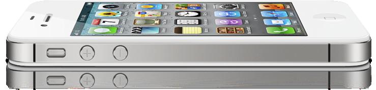 iPhone 4S deitado e de lado