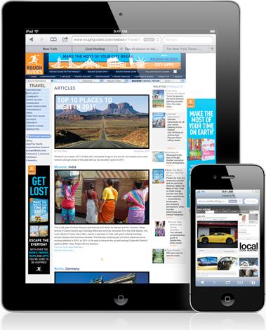 iPad e iPhone rodando Safari