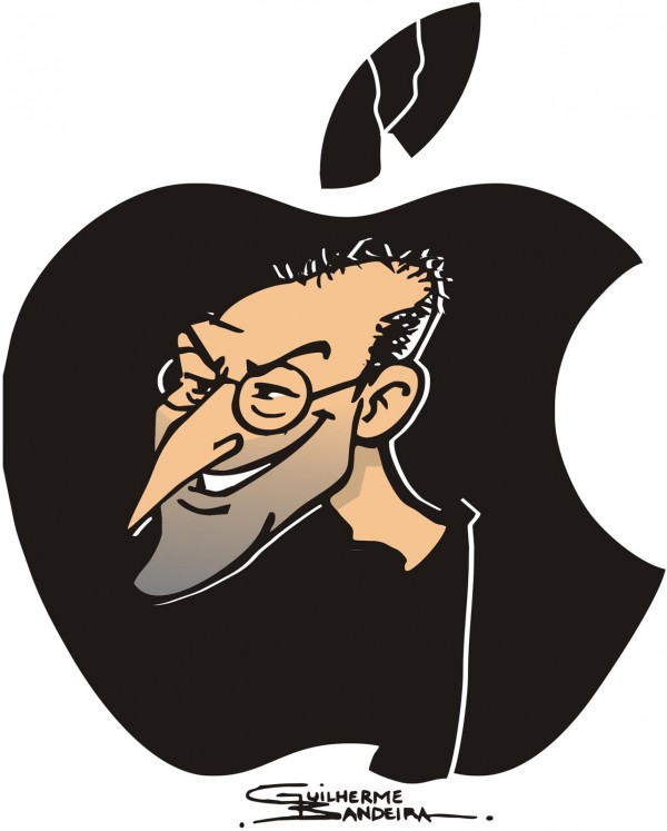 Charge em homenagem a Steve Jobs na Maçã
