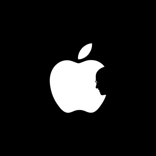 Steve Jobs e logo da Apple