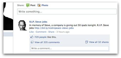 Scam sobre Steve Jobs no Facebook