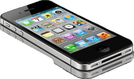iPhone 4S preto deitado e de lado