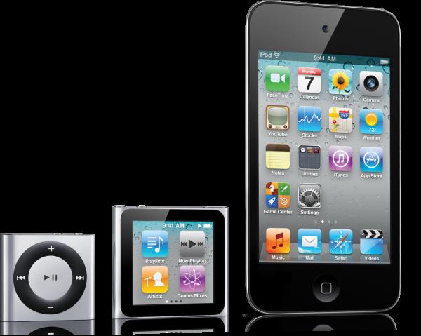 Atual família de iPods