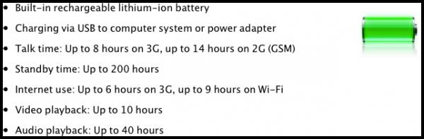 Especificações da bateria utilizando um chip A5