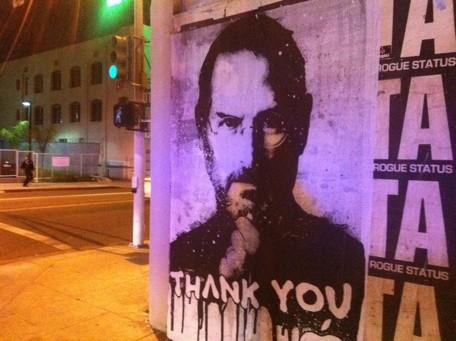 Pichação sobre Steve Jobs