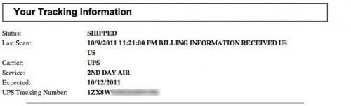 Notificação de entrega do iPhone 4S
