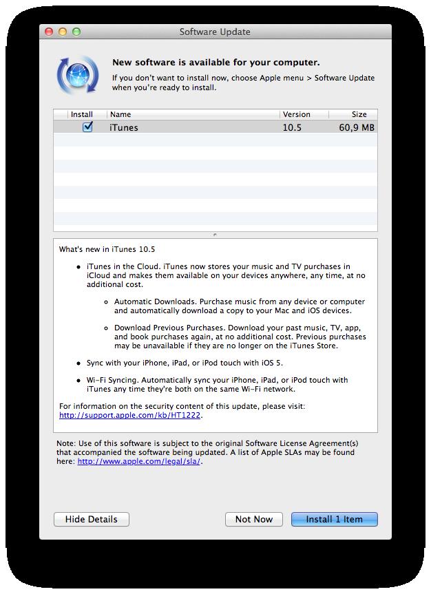 iTunes 10.5 no Software Update