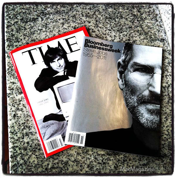 Revistas TIME e Bloomberg Businessweek com Steve Jobs