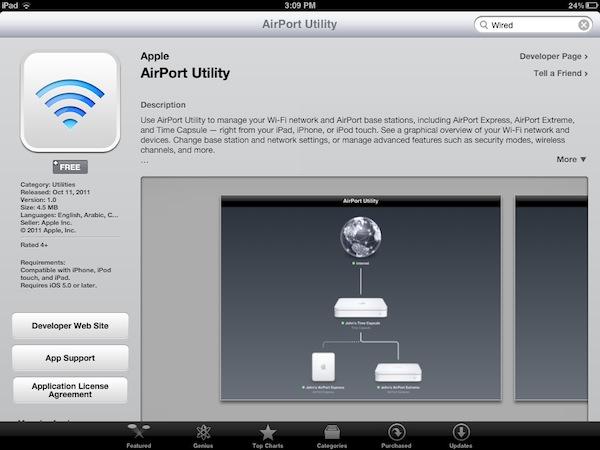 AirPort Utility para iOS 5
