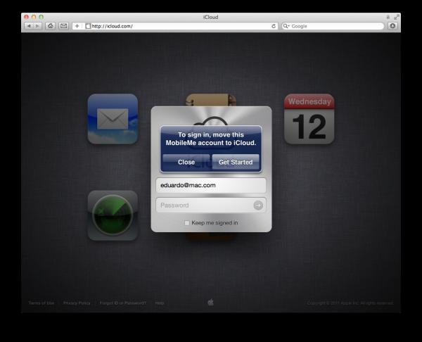 Aviso na página do iCloud