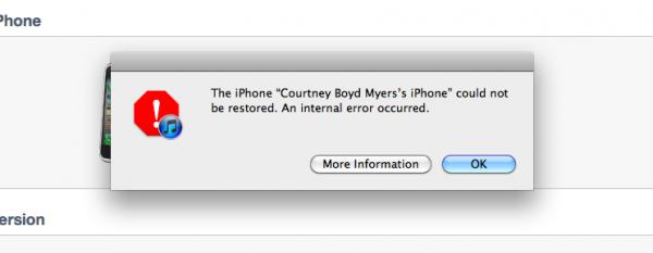 Erro no iTunes