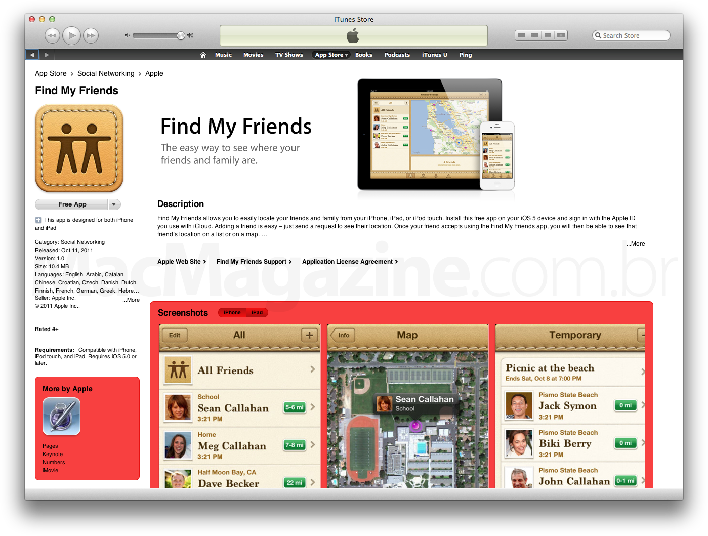 Find My Friends na App Store