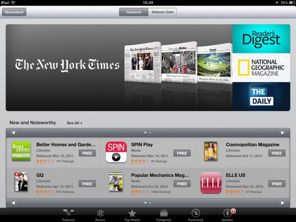 Loja da Newsstand no iOS 5