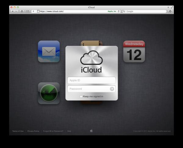 Página do iCloud