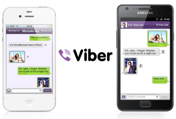 Viber rodando no iOS e no Android