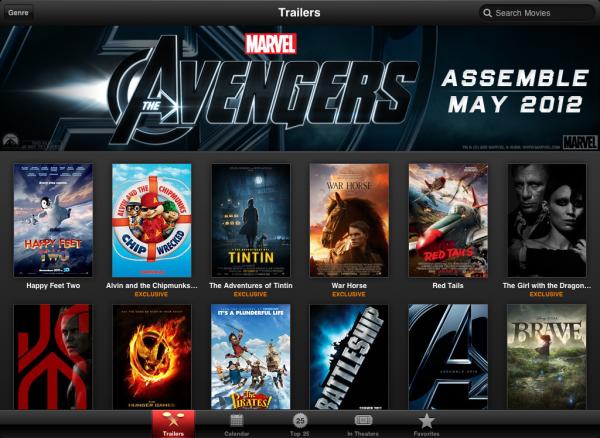 Screenshot do app de trailers de filmes para iPad
