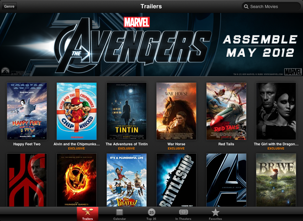 Screenshot do app de trailers de filmes para iPad