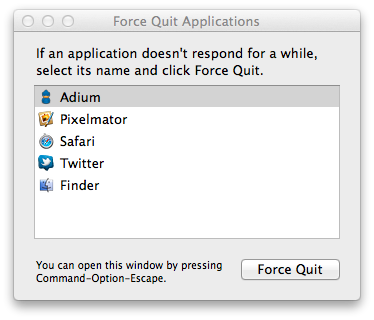 Force Quit no Mac OS X