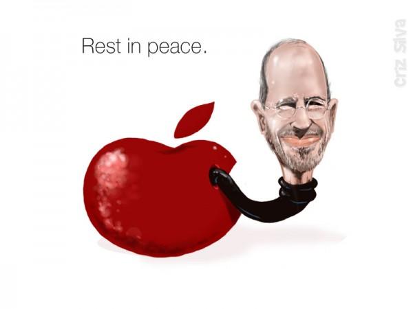 Desenho com Steve Jobs saindo da maçã