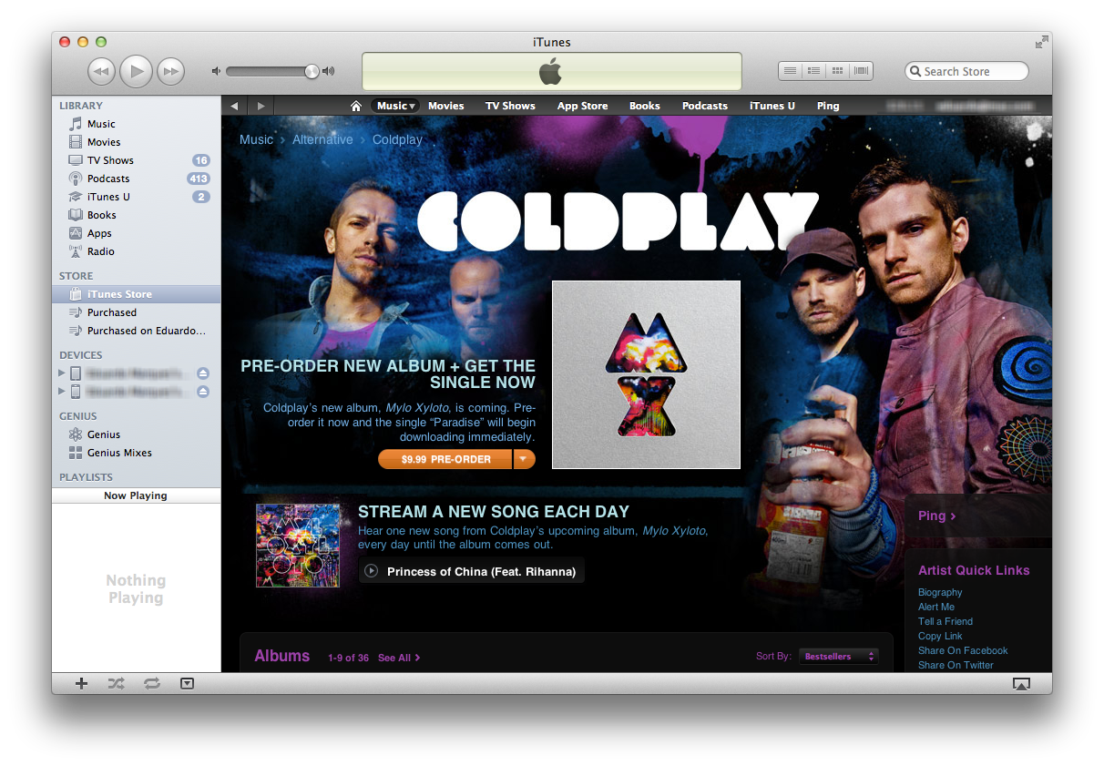 Coldplay na iTunes Music Store