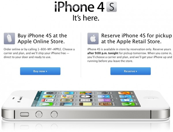 Página de compra do iPhone 4S