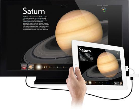 iPad 2 conectado a uma TV via HDMI