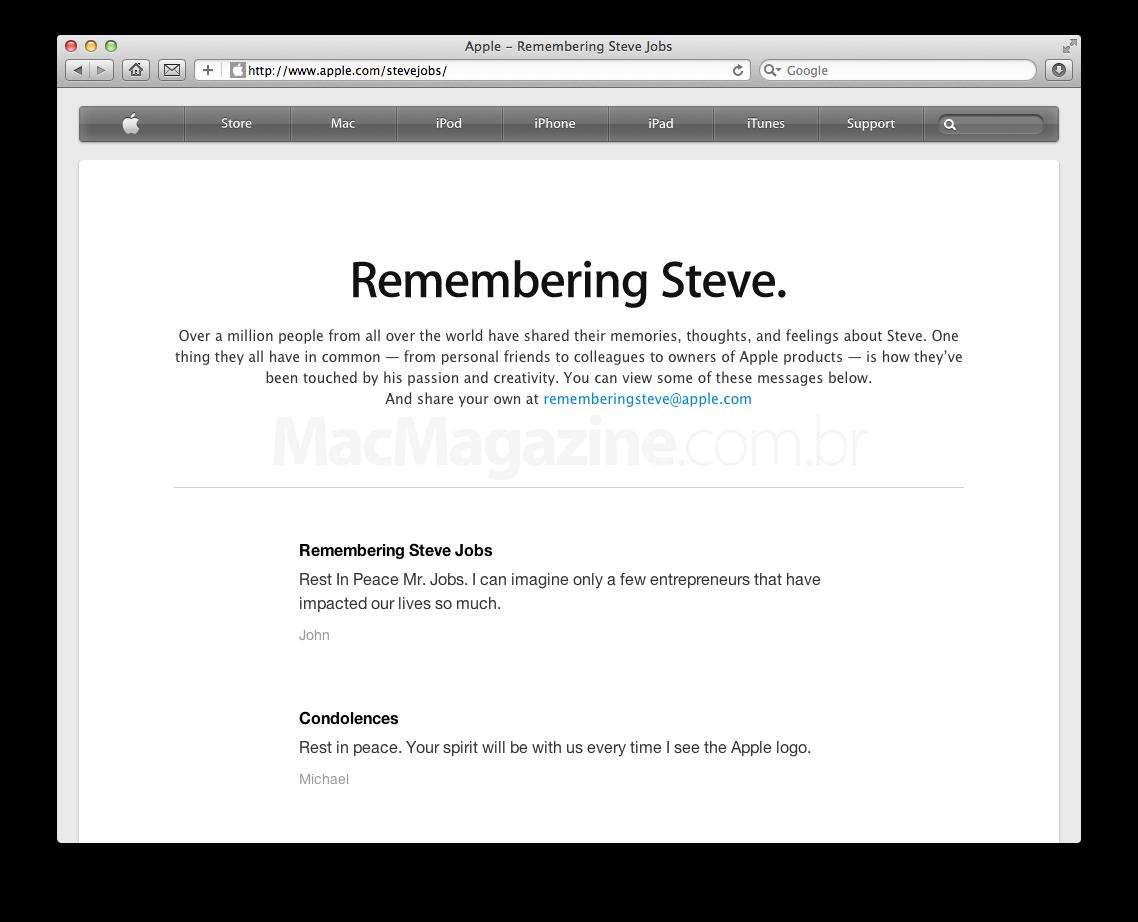 Página em homenagem a Steve Jobs no site da Apple