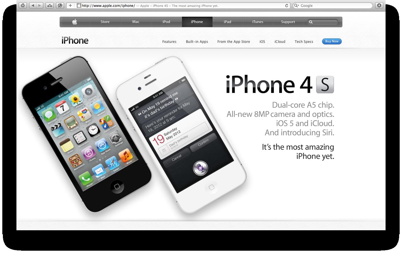 Página do iPhone 4S no Apple.com