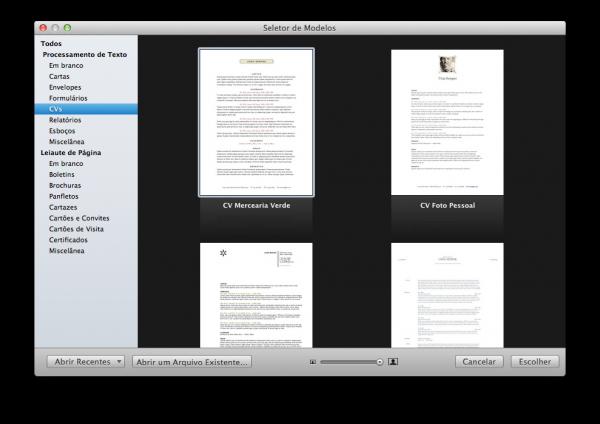 Seletor de CVs no Pages
