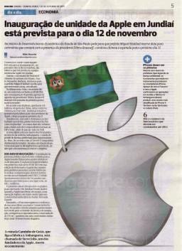 Jornal sobre a inauguração da Foxconn em Jundiaí