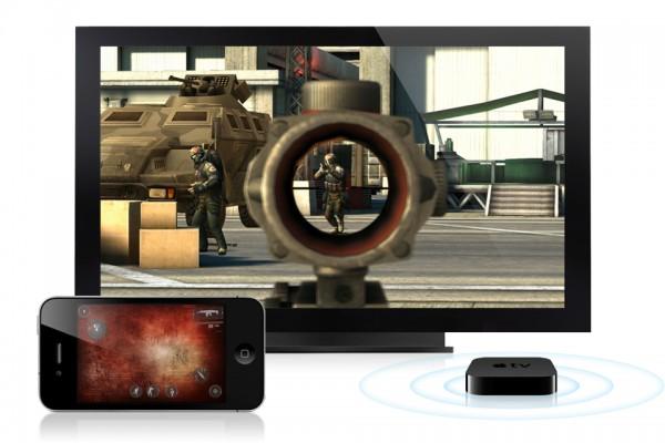 Modern Combat 3 rodando no iPhone e no Apple TV