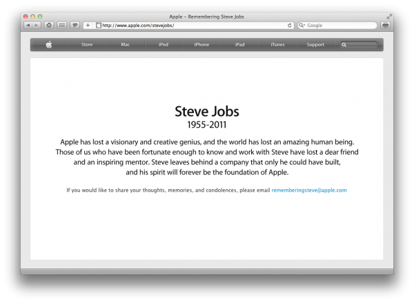 Homenagem a Steve Jobs no Apple.com