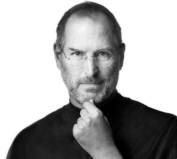 Steve Jobs em preto e branco