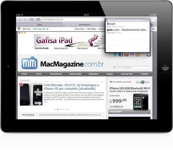 Abas Fechadas Recentemente no iOS 5 - iPad (Safari)