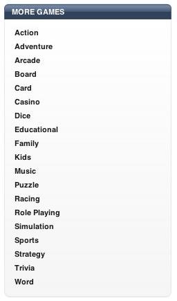 Subcategoria dos jogos na App Store