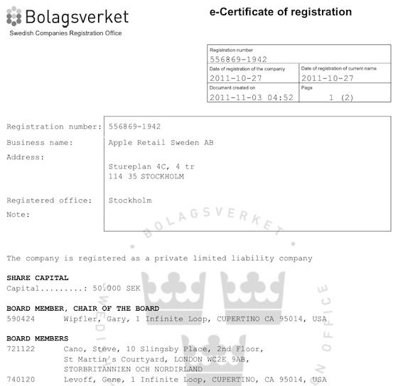 Registro - Apple Retail Sweden AB