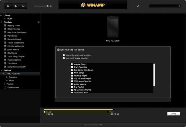 Sync no Winamp para Mac