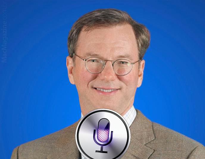 Eric Schmidt, do Google, com microfone da Siri