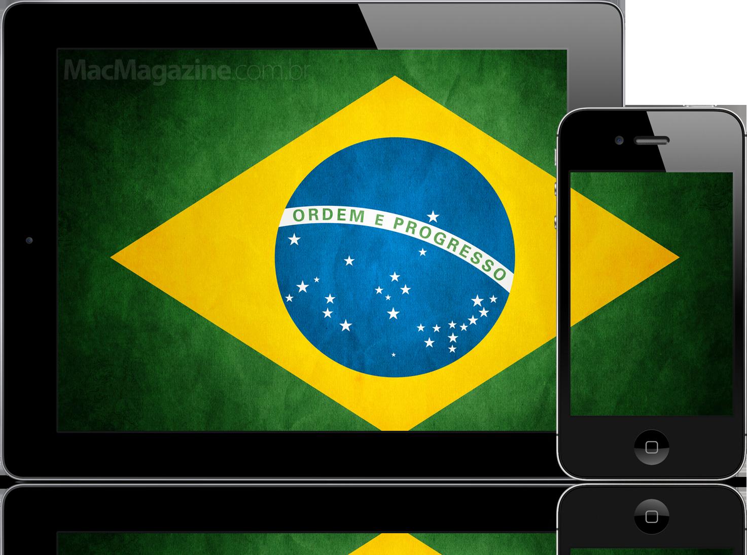 iPad e iPhone com a bandeira do Brasil