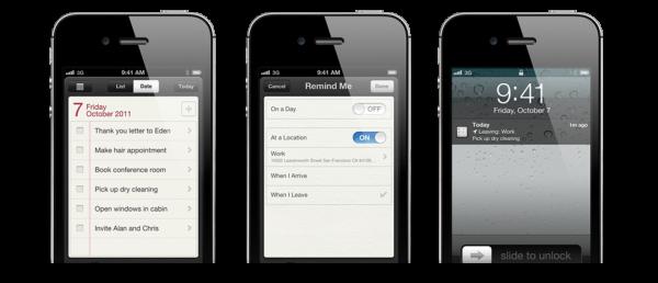 Lembretes no iPhone 4S