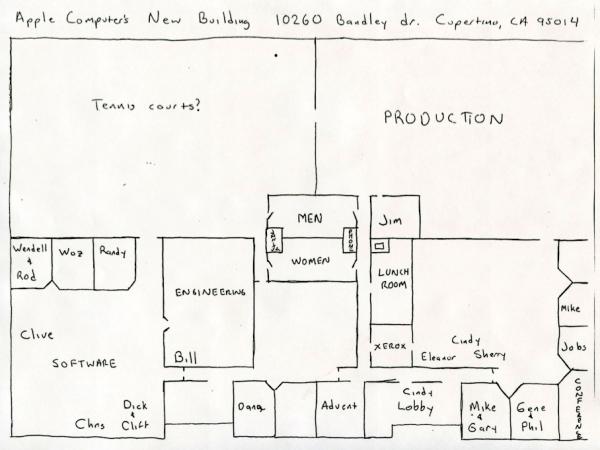Rascunho de planta do primeiro prédio da Apple - Chris Espinosa