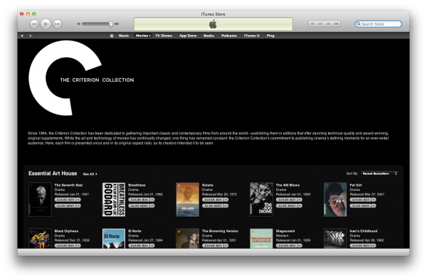 Criterion Collection na iTunes Store