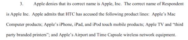 Documento enviado à ITC com a correção no nome Apple Inc.