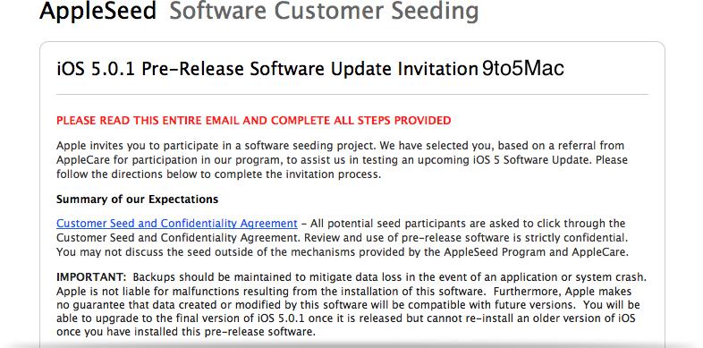 Memorando sobre o iOS 5.0.1 beta