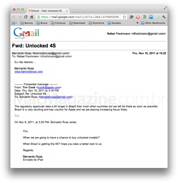 Tim Cook sobre iPhone 4S em email