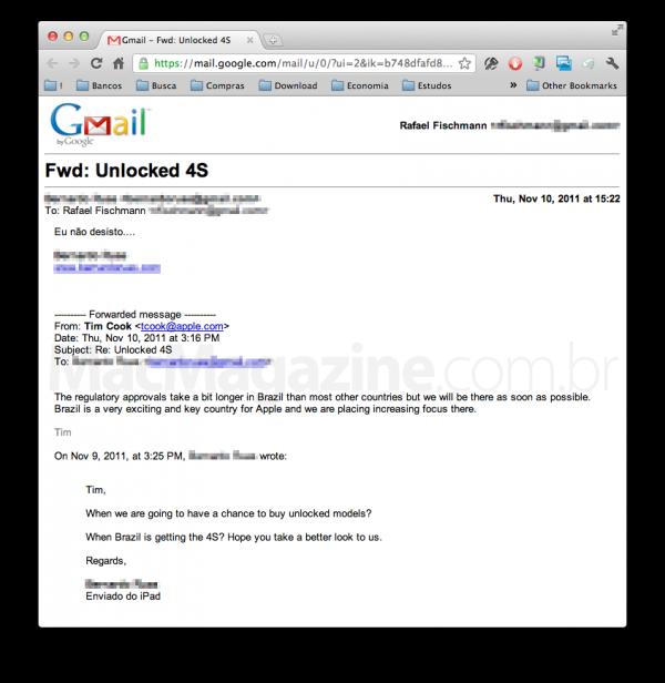 Tim Cook sobre iPhone 4S em email