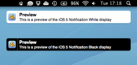 Notificação Growl à la iOS 5