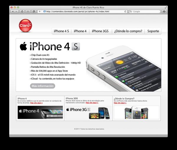 Claro Puerto Rico com iPhone 4S