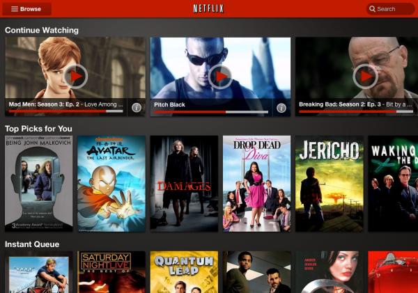 Novo visual do app Netflix
